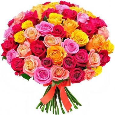 101 роза  50 см Микс 3